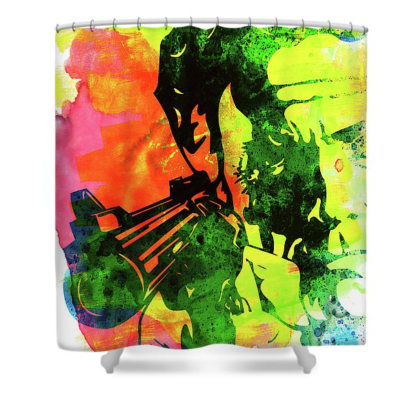 Harry With A Gun Watercolor I Shower Curtain