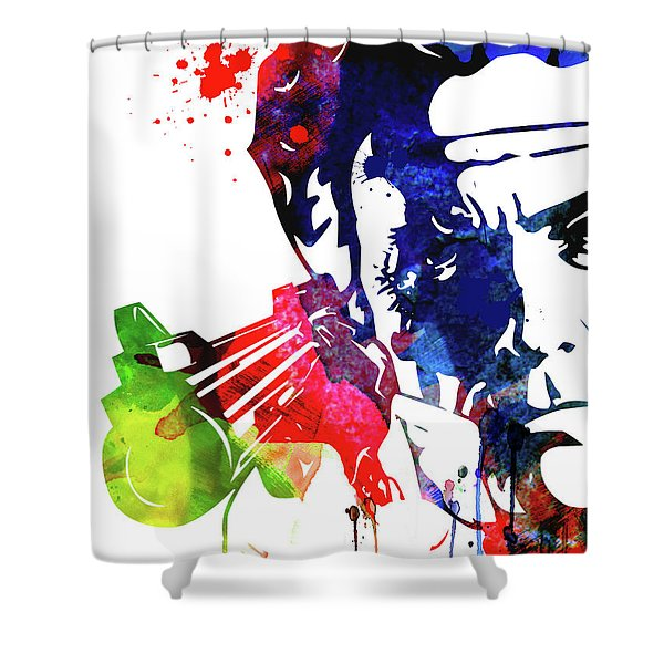 Harry With A Gun Watercolor II Shower Curtain