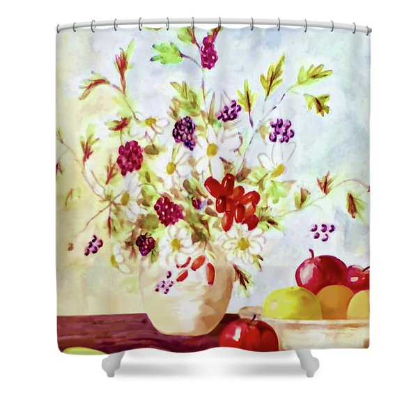 Harvest Time-still Life Painting By V.kelly Shower Curtain