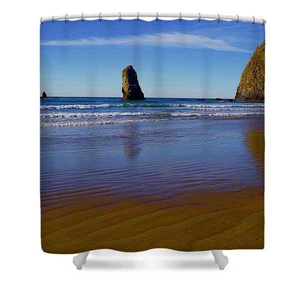 Haystack Rock Panoramic Shower Curtain