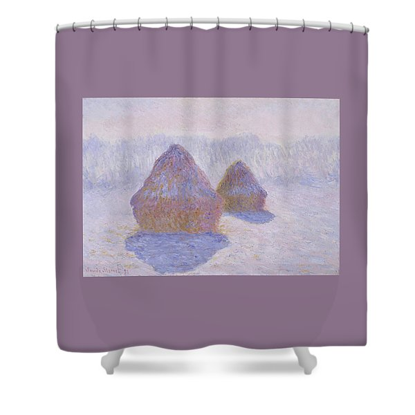 Haystacks, Effect Of Snow And Sun - Digital Remastered Edition Shower Curtain