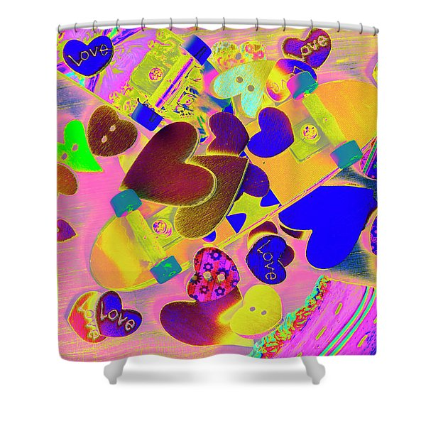Heart Stack - Fallen For Sk8 Shower Curtain
