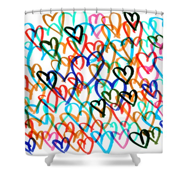 Shower Curtain featuring the drawing Hearts by Bee-Bee Deigner