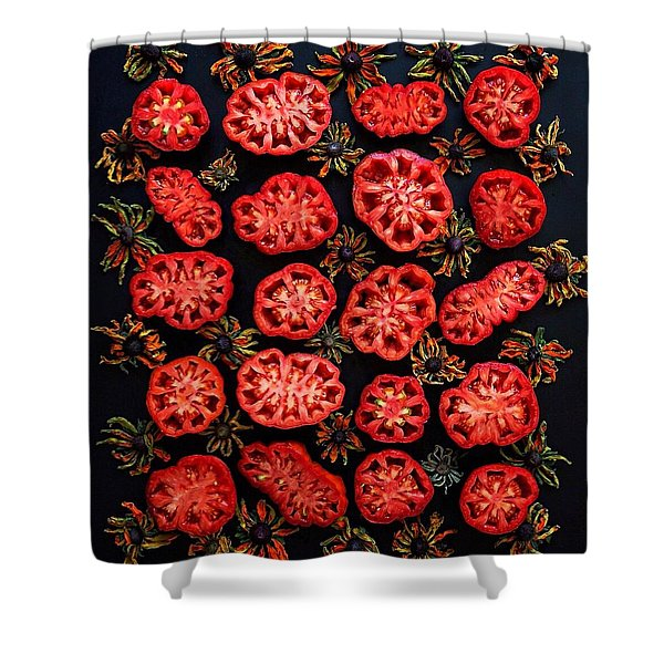 Heirloom Tomato Grid Shower Curtain