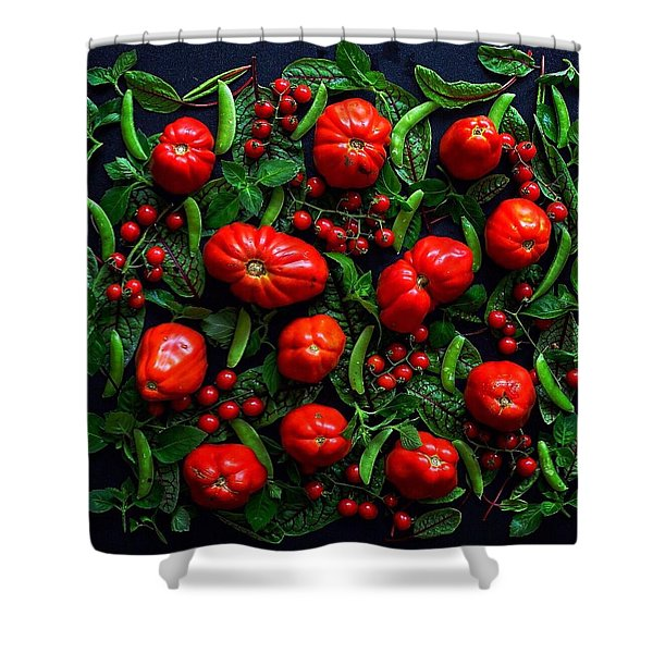 Heirloom Tomatoes And Peas Shower Curtain