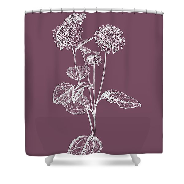 Helianthus Purple Flower Shower Curtain