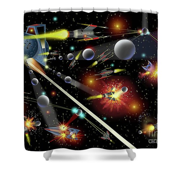 Hell In Space Shower Curtain
