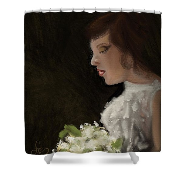 Shower Curtain featuring the painting Her Big Day by Fe Jones
