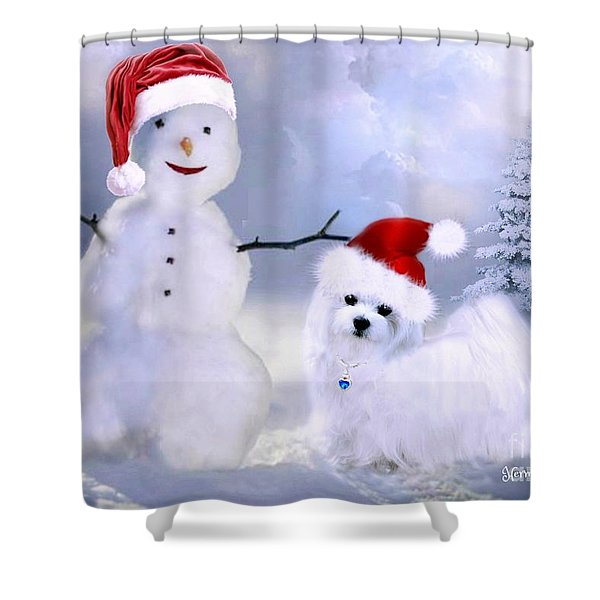 Hermes And Snowman Shower Curtain