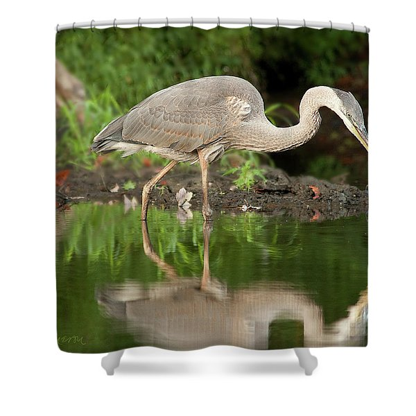 Heron Fishing Shower Curtain
