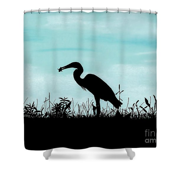 Heron Has Supper Shower Curtain
