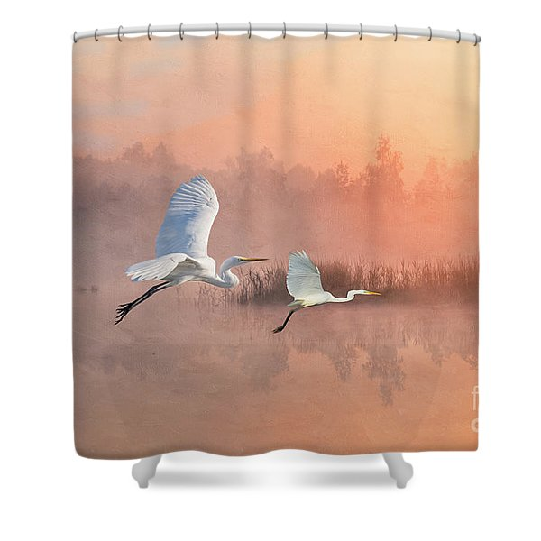 Herons Into The Sunset Shower Curtain