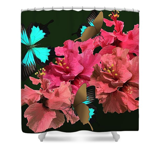 Hibiscus Butterfly Joy Shower Curtain