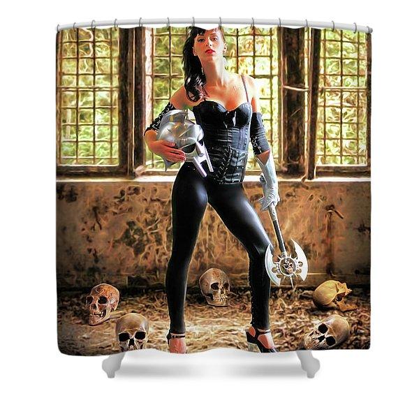 High Heeled Zombie Slayer Shower Curtain
