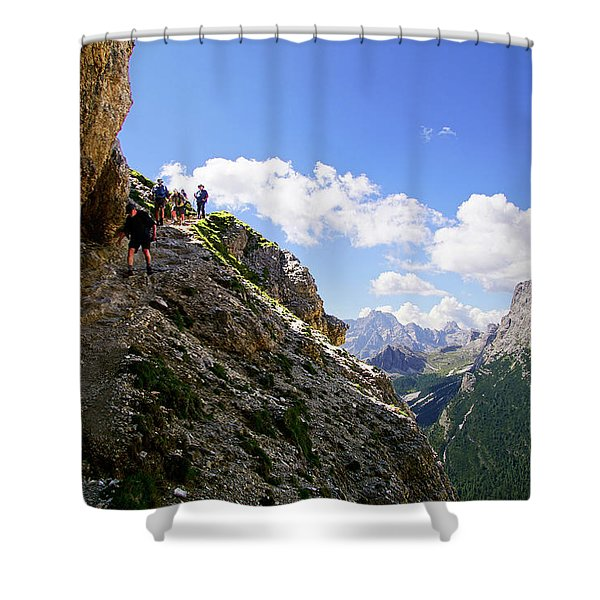 Hikers On Steep Trail Up Monte Piana Shower Curtain