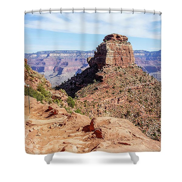 Shower Curtain featuring the photograph Hiking Toward O'neill Butte, Grand Canyon by Dawn Richards