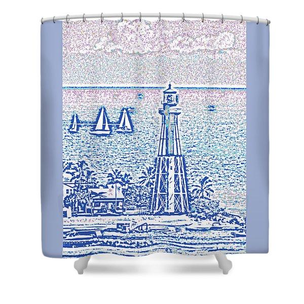 Hillsboro Lighthouse Line Photo 1001 Shower Curtain