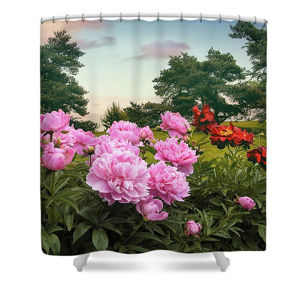 Hillside Peonies Shower Curtain