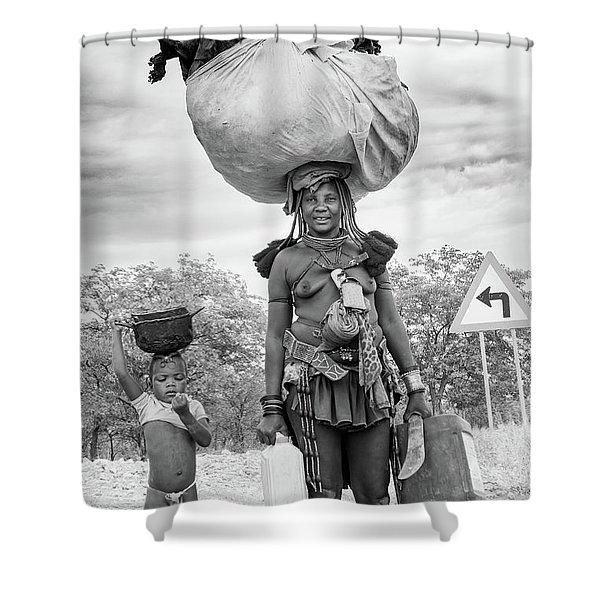 Himba Both Carrying  Shower Curtain