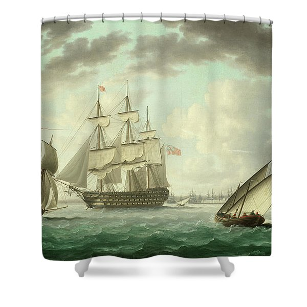 Hms Queen Charlotte Anchored In Cadiz Bay Shower Curtain