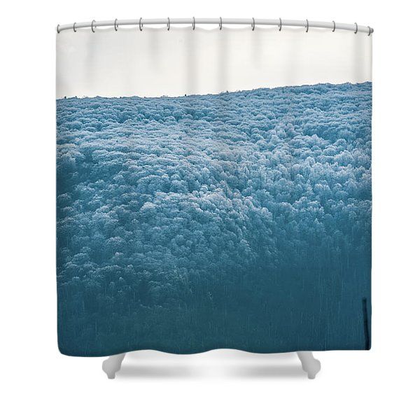 Hoarfrost Blue Mountain Shower Curtain