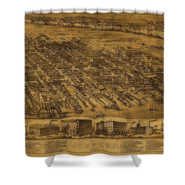 Hoboken New Jersey Vintage City Street Map 1881 Shower Curtain