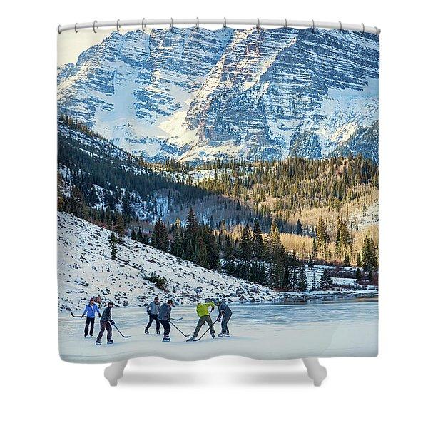 Hockey On Maroon Lake Maroon Bells Aspen Colorado Shower Curtain