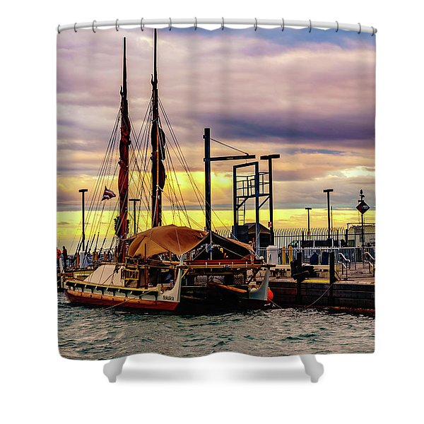 Hokulea Docked Shower Curtain