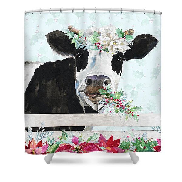 Holiday Crazy Cow Shower Curtain