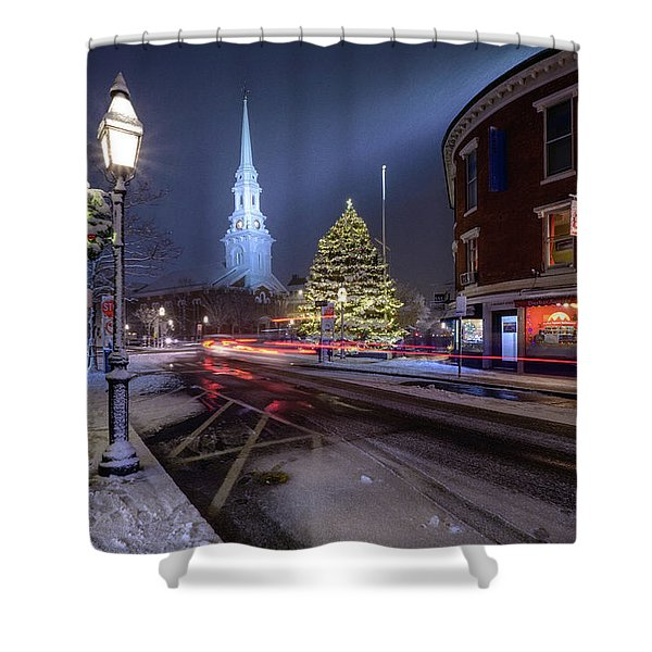 Shower Curtain featuring the photograph Holiday Magic, Market Square by Jeff Sinon