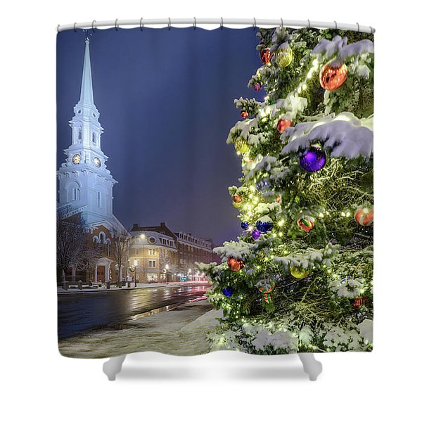 Shower Curtain featuring the photograph Holiday Snow, Market Square by Jeff Sinon