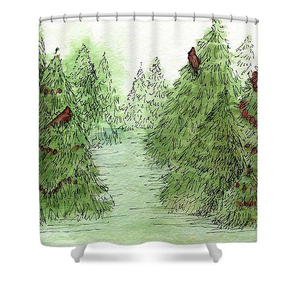 Holiday Trees Woodland Landscape Illustration Shower Curtain