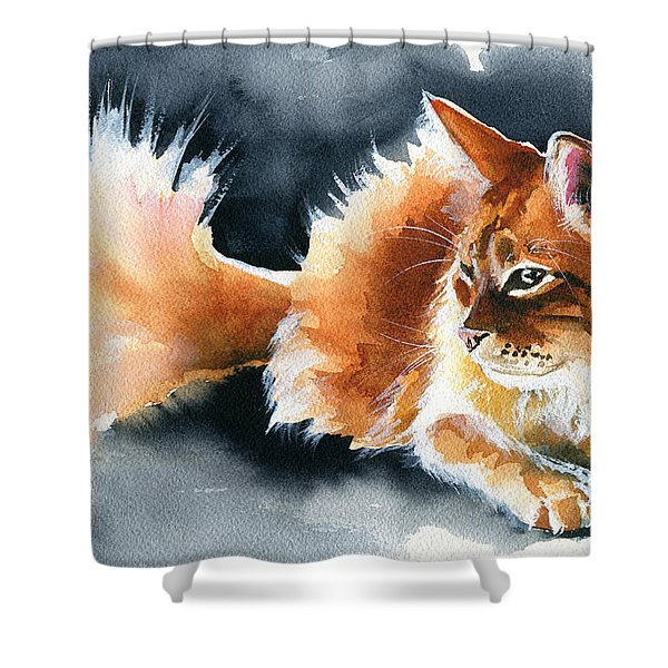 Holy Ginger Fluff - Cat Painting Shower Curtain