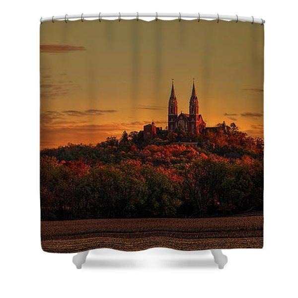 Holy Hill Sunrise Panorama Shower Curtain