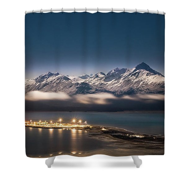 Homer Spit With Moonlit Mountains Shower Curtain