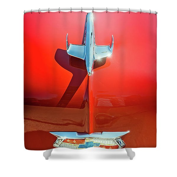 Hood Ornament On A Red 55 Chevy Shower Curtain