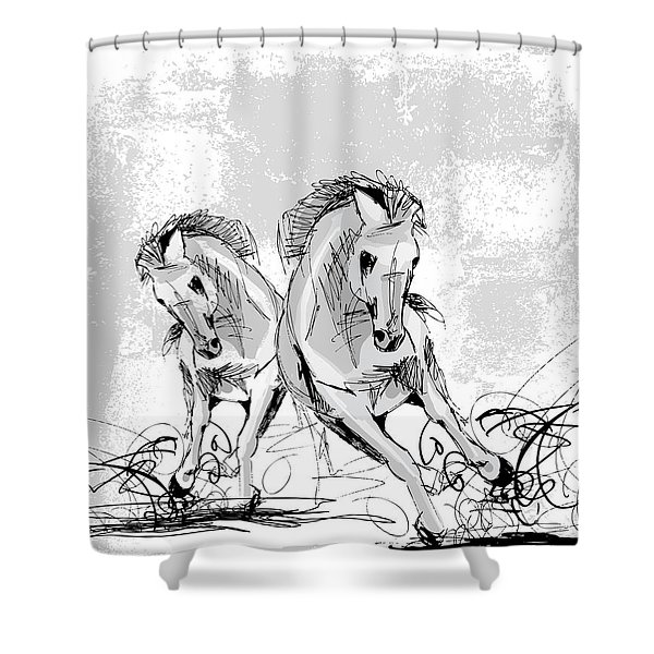 Shower Curtain featuring the digital art Horse Play by Stanley Mathis