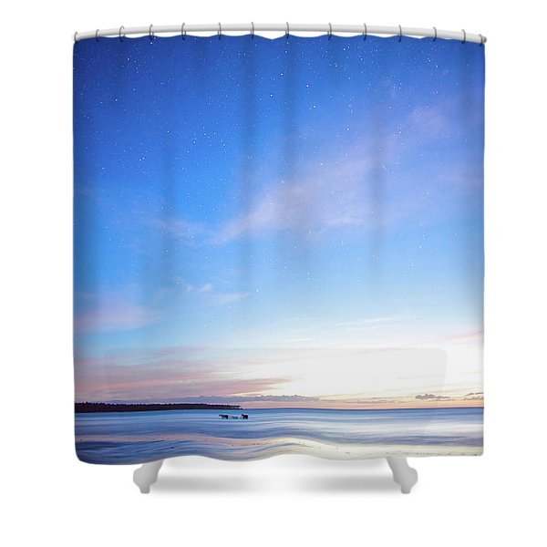 Horses Play In The Surf At Twilight Shower Curtain