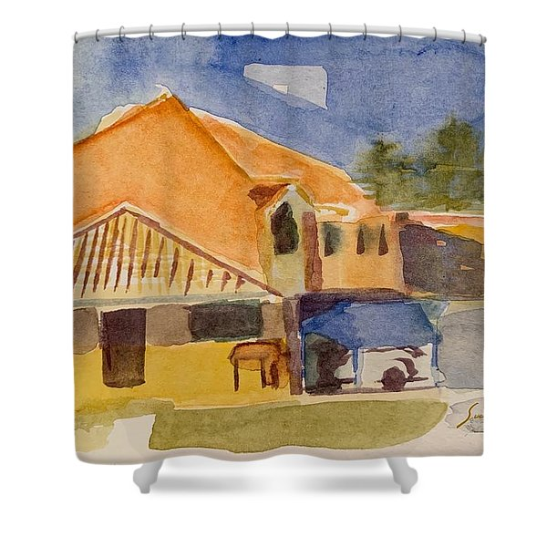 House Across The Way Shower Curtain