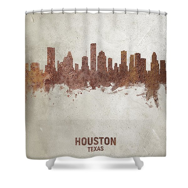 Houston Texas Rust Skyline Shower Curtain