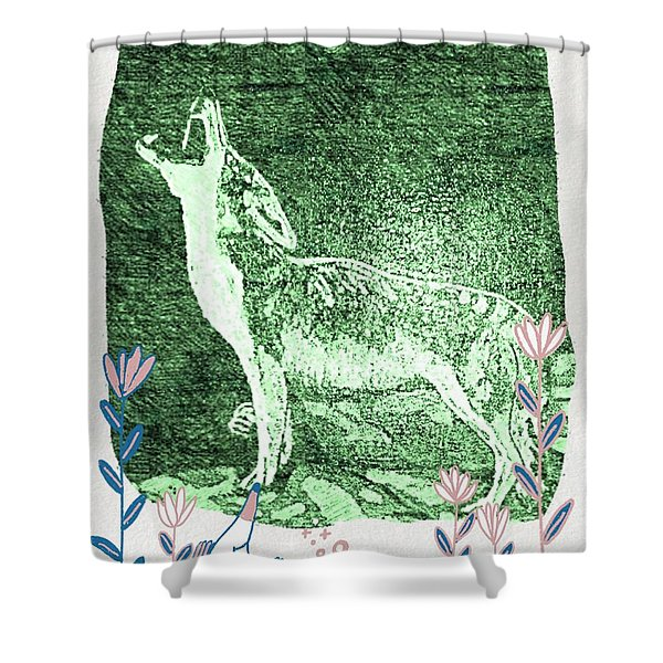 Howling Coyote Green Shower Curtain