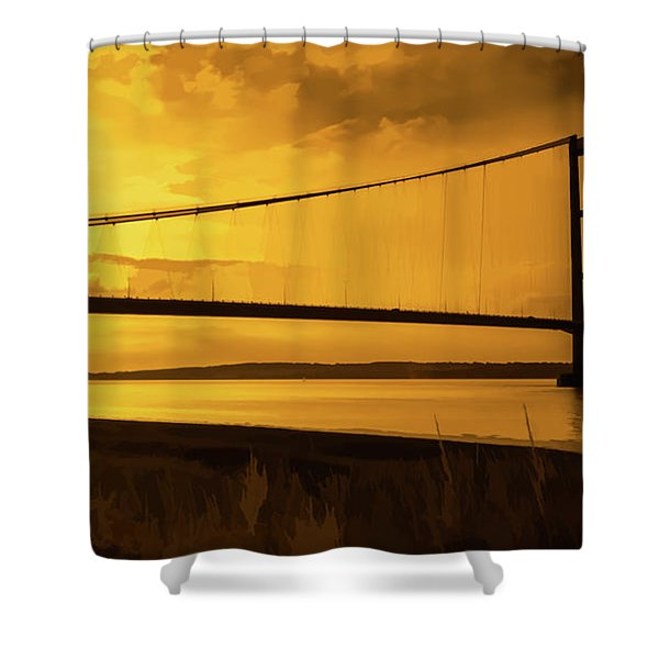 Shower Curtain featuring the photograph Humber Bridge Golden Sky by Scott Lyons