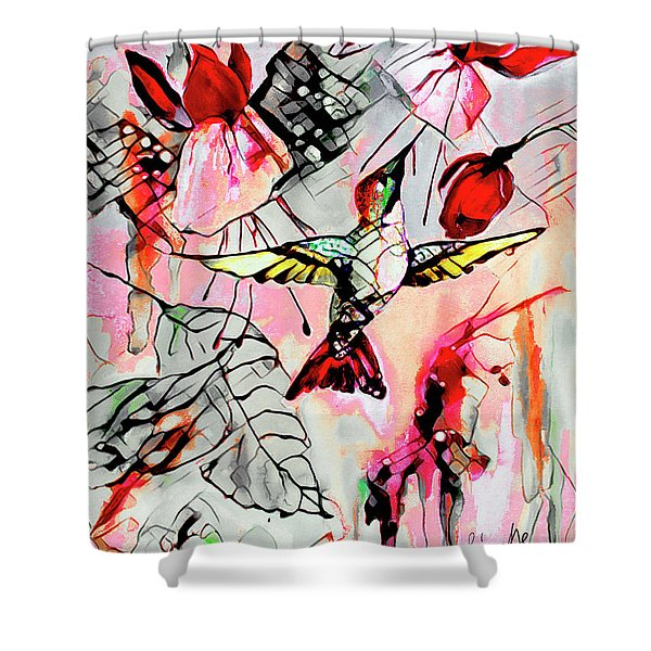 Hummingbird Abstract Modern Bird Art Shower Curtain