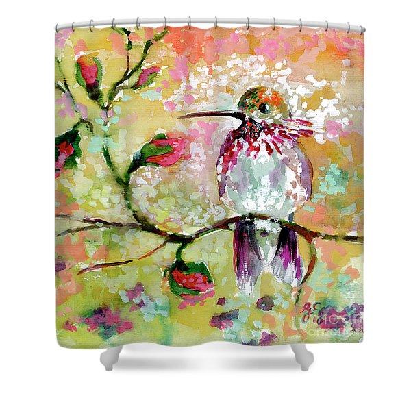 Hummingbird Pink Blossoms Shower Curtain