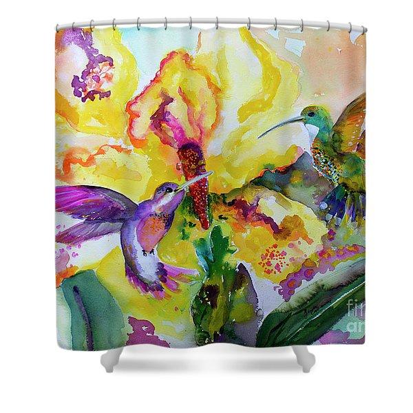 Hummingbird Song Watercolor Shower Curtain