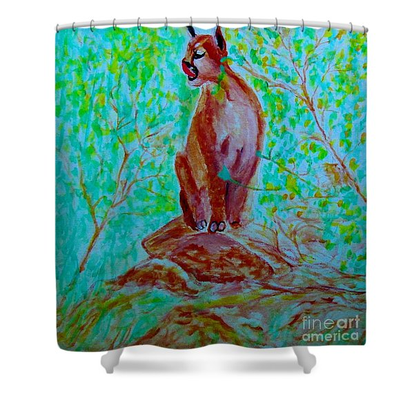 Hungry Mountain Lion Shower Curtain