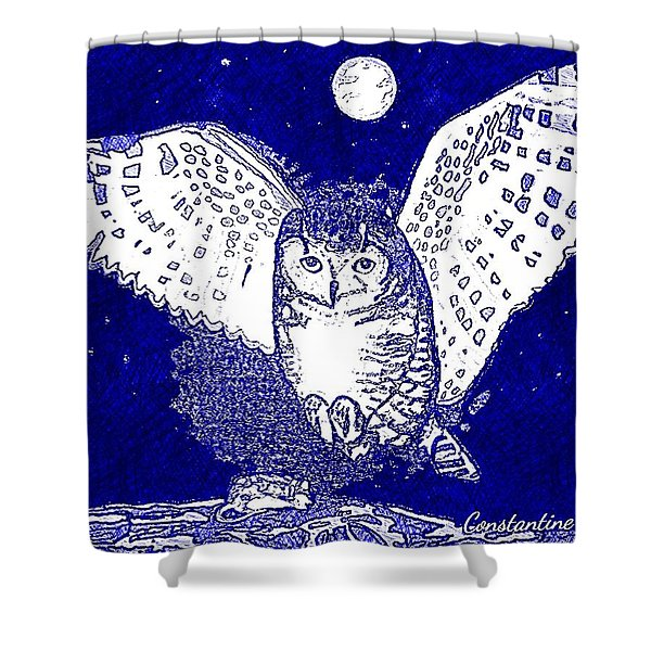 Hunting Owl Blue Shower Curtain
