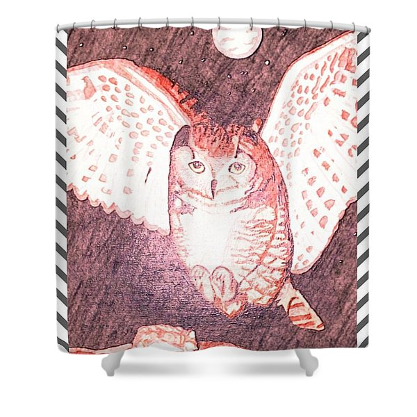 Hunting Owl Red Shower Curtain