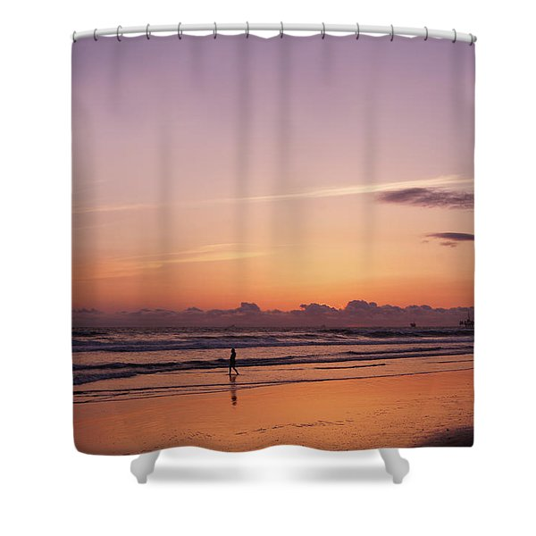 Huntington Beach At Sunset Shower Curtain