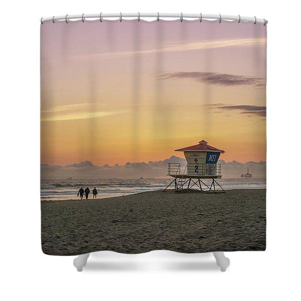 Huntington Beach Lifeguard Tower  Shower Curtain